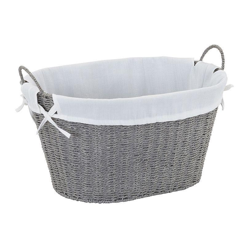 Household Essentials Wicker Laundry Basket, Grey