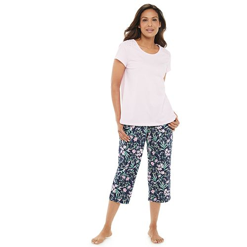 Women's Croft & Barrow® Capri Eyelet Pajama Set