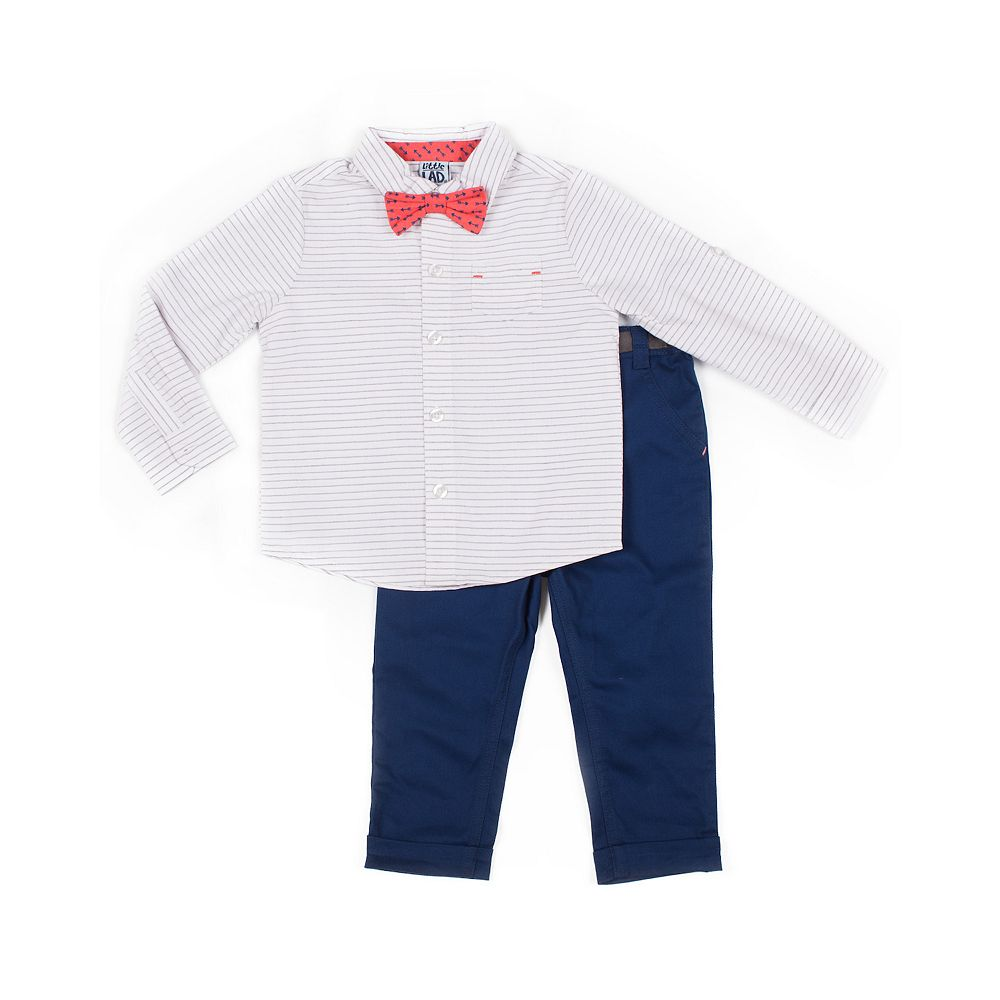 Baby Boy Little Lad 3 Piece Striped Roll Sleeve Shirt, Pants & Bow Tie Set