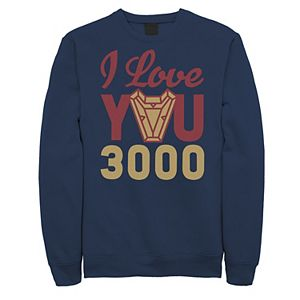 Men's Marvel Avengers: Endgame Iron Man I Love You 3000 Logo Sweatshirt