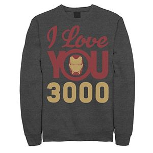 Men's Marvel Avengers: Endgame Iron Man I Love You 3000 Helmet Logo Sweatshirt