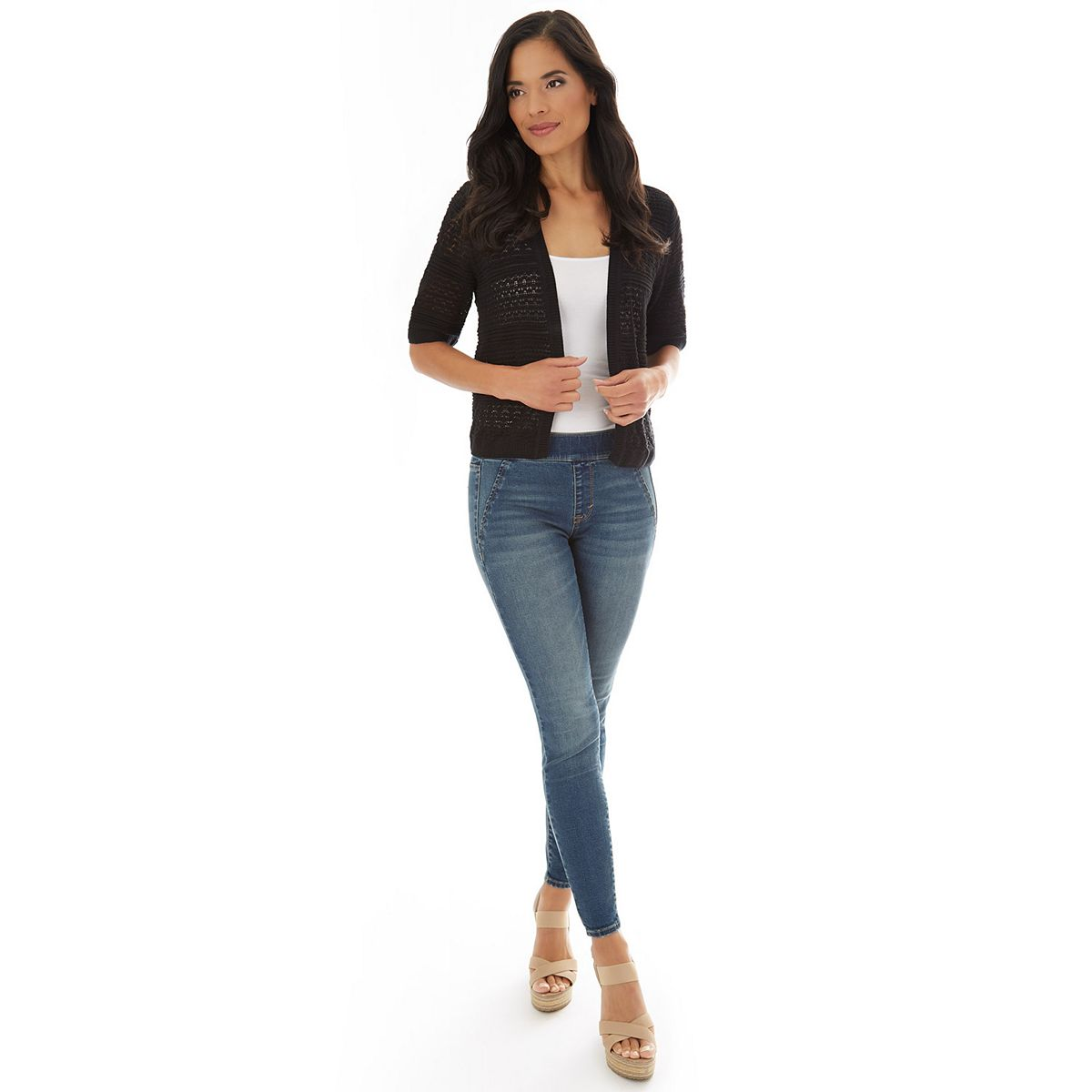 Women's Apt. 9® Pointelle Sweater Shrug White LHT3u