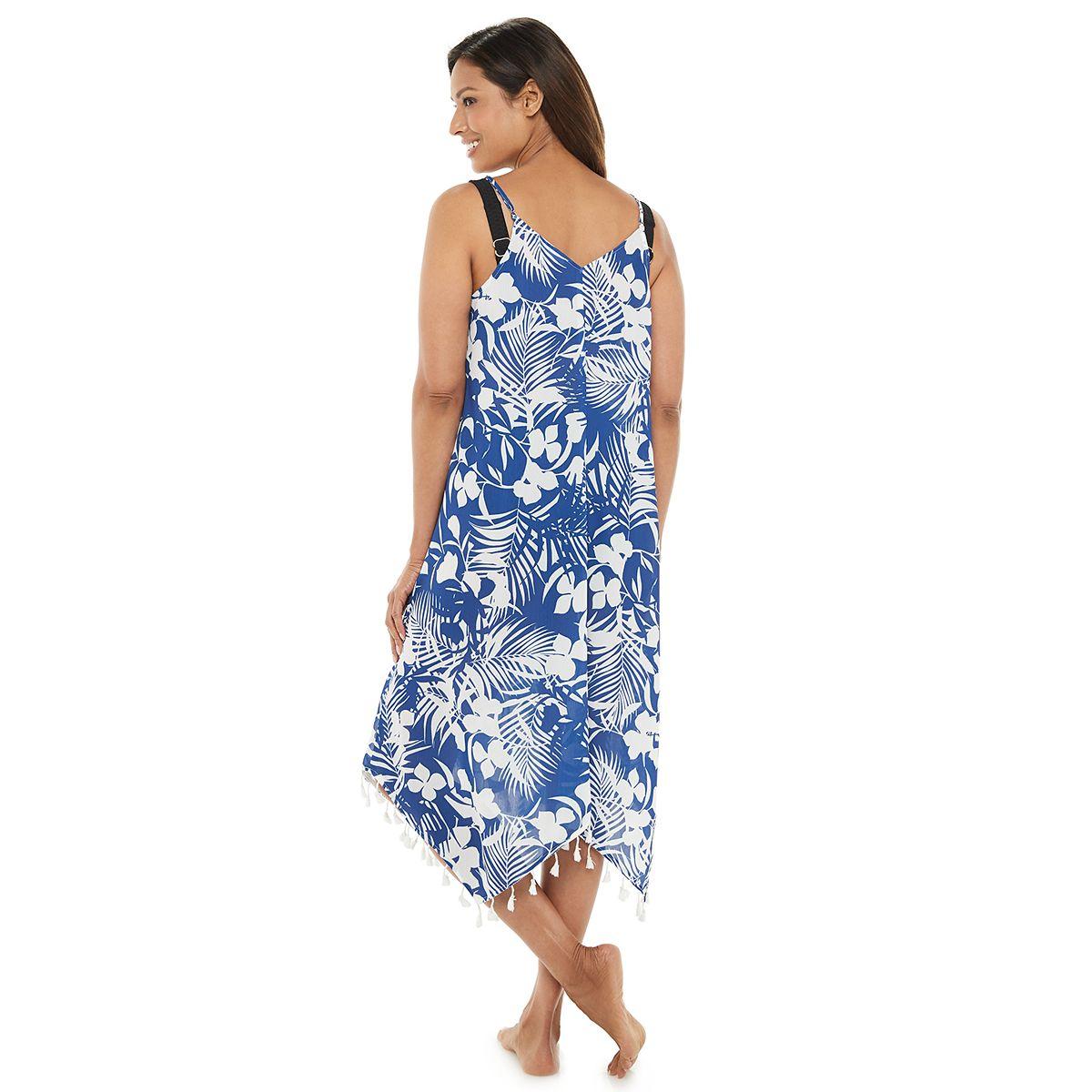 Women's Beach Scene Tassel Trim Handkerchief Hem Cover-Up Dress Lagoon G7qwj