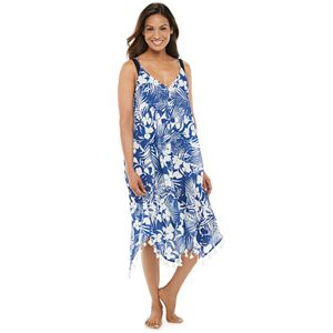 Women's Beach Scene Pom-Pom Trim Handkerchief Hem Cover-Up Dress