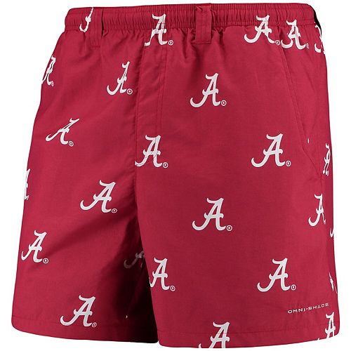 """Men's Columbia PFG Crimson Alabama Crimson Tide Backcast II 6"""" Omni-Shade Hybrid Shorts"""