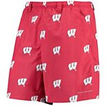 "Men's Columbia PFG Red Wisconsin Badgers Backcast II 8"" Omni-Shade Hybrid Shorts"