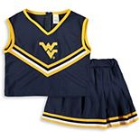 Girls Youth Navy West Virginia Mountaineers Two-Piece Cheer Set