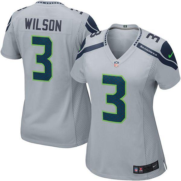 Women's Seattle Seahawks Russell Wilson Nike Gray Game Jersey