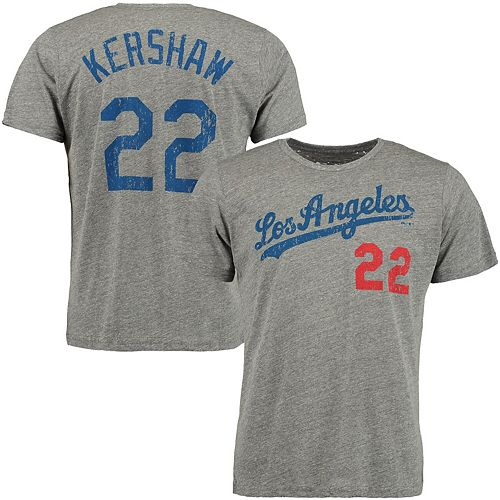 low priced 38bfb 8cb98 Men's Majestic Threads Clayton Kershaw Gray Los Angeles Dodgers Premium  Tri-Blend Name & Number T-Shirt