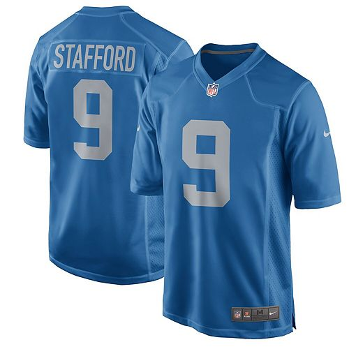 Men's Nike Matthew Stafford Blue Detroit Lions Throwback Game Jersey