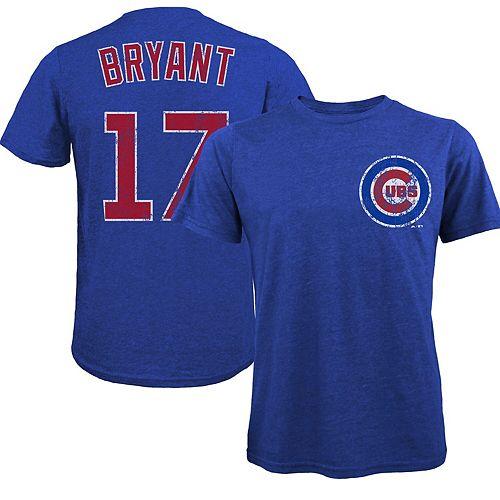 Men's Majestic Threads Kris Bryant Royal Chicago Cubs Premium Tri-Blend Name & Number T-Shirt