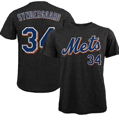 Men's Majestic Threads Noah Syndergaard Black New York Mets Premium Tri-Blend Name & Number T-Shirt