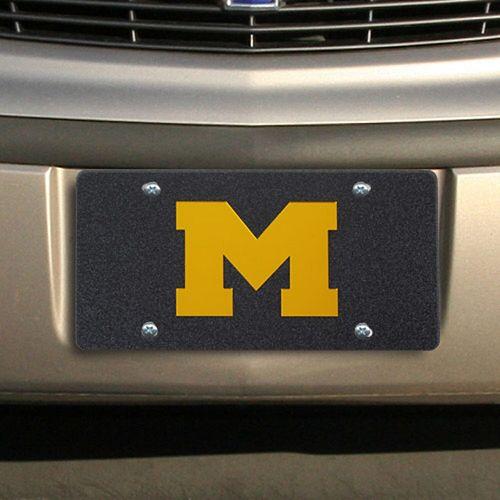 Michigan Wolverines Glitter License Plate - Black