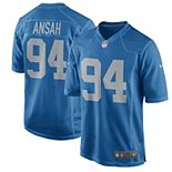 Men's Nike Ziggy Ansah Blue Detroit Lions Throwback Game Jersey