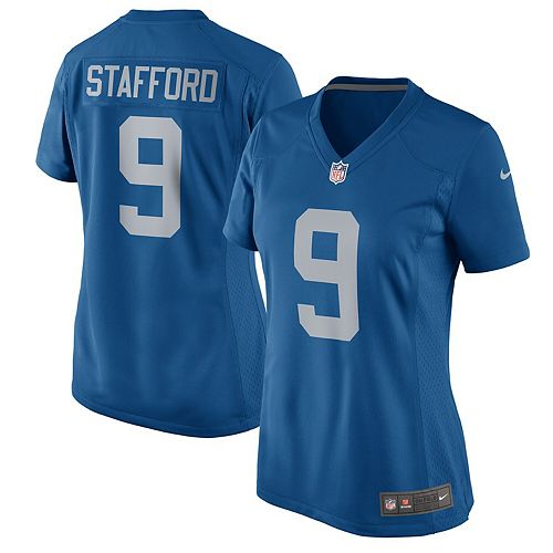 Women's Nike Matthew Stafford Blue Detroit Lions 2017 Throwback Game Jersey