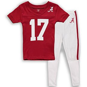 Youth Wes & Willy Crimson Alabama Crimson Tide Football T-Shirt and Pant Pajama Set