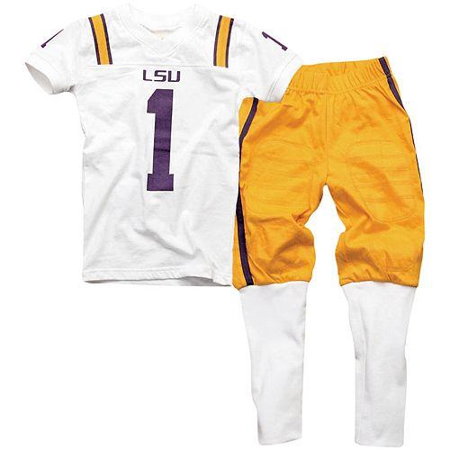 LSU Tigers Youth Football Pajama Set - White/Gold