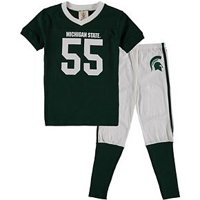 Youth Wes & Willy Green Michigan State Spartans Football Pajama Set