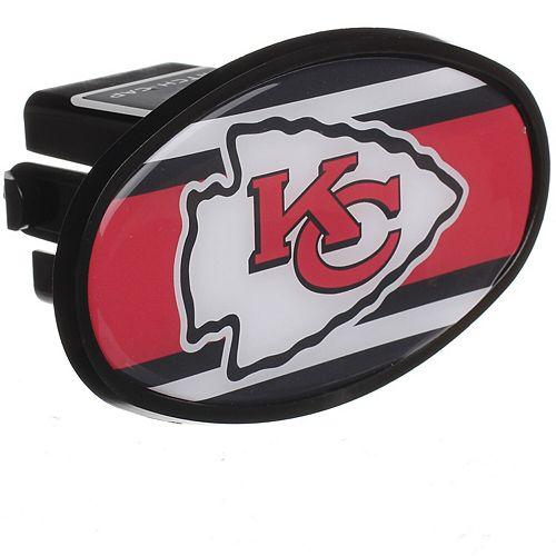 """Kansas City Chiefs Stripe Oval Fixed 2"""" Hitch Cover"""