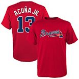 Youth Majestic Ronald Acuna Jr. Red Atlanta Braves Player Name & Number T-Shirt