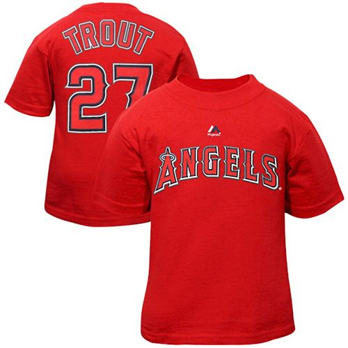 Toddler Majestic Mike Trout Red Los Angeles Angels Player Name and Number T-Shirt