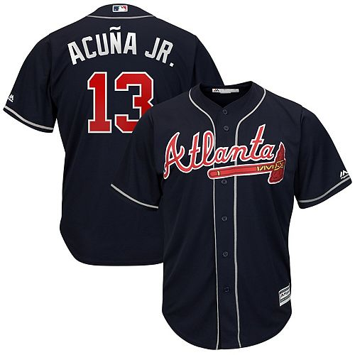 Men's Majestic Ronald Acuña Jr. Navy Atlanta Braves 2019 Alternate Official Cool Base Player Jersey