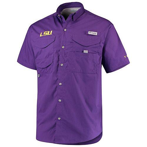 LSU Tigers Columbia PFG Bonehead Short Sleeve Shirt - Purple