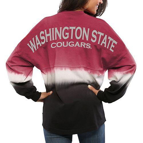 Women's Crimson Washington State Cougars Ombre Long Sleeve Dip-Dyed Spirit Jersey