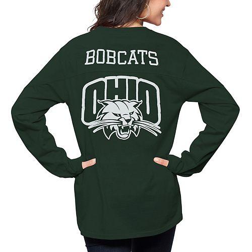 Women's Pressbox Green Ohio Bobcats The Big Shirt Oversized Long Sleeve T-Shirt
