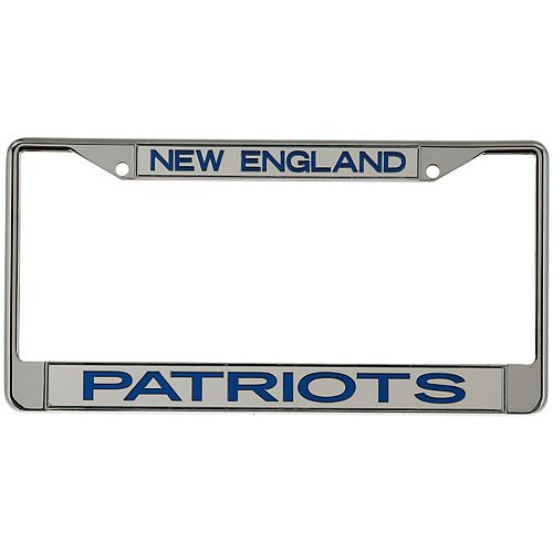 New England Patriots Metal Frame Acrylic Top & Bottom Inlaid Mirror License Plate Frame