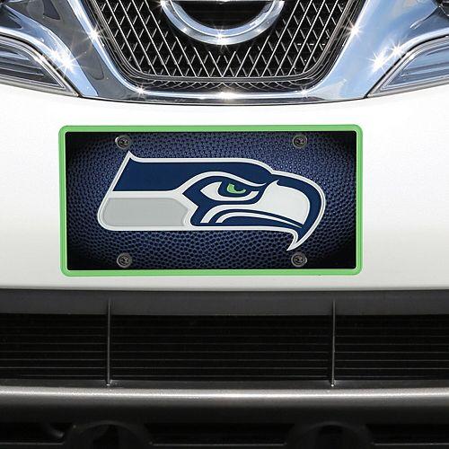 Seattle Seahawks Teamball Acrylic Cut License Plate