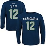 Youth Seattle Seahawks 12s College Navy Primary Gear Name & Number Long Sleeve T-Shirt