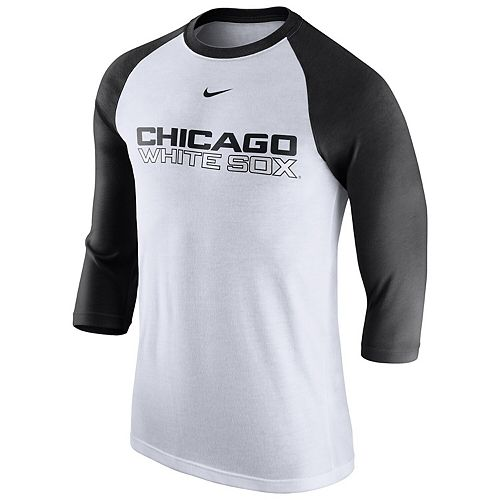 Men's Nike White Chicago White Sox Wordmark Three-Quarter Sleeve Tri-Blend Raglan T-Shirt