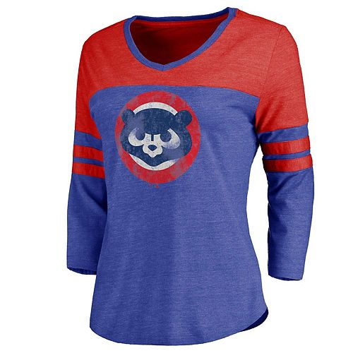 Women's Royal/Red Chicago Cubs Two Tone Cooperstown Three-Quarter Sleeve Tri-Blend T-Shirt
