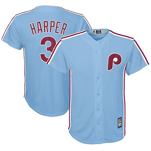 Bryce Harper Philadelphia Phillies Majestic Youth Official Cool Base Player Jersey - Light Blue
