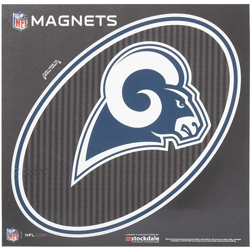 """Los Angeles Rams Carbon 12"""" x 12"""" Oval Full Color Magnet"""