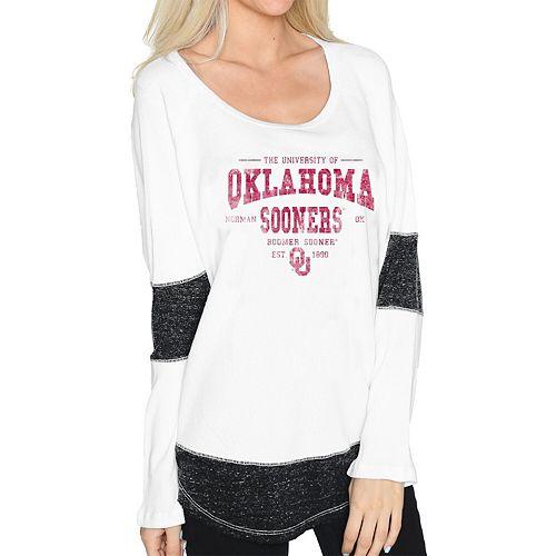 Women's Original Retro Brand White Oklahoma Sooners Contrast Boyfriend Thermal Long Sleeve T-Shirt