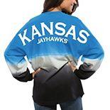Women's Royal Kansas Jayhawks Ombre Long Sleeve Dip-Dyed Spirit Jersey