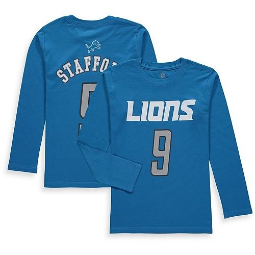Youth Matthew Stafford Blue Detroit Lions Mainliner Name & Number Long Sleeve T-Shirt