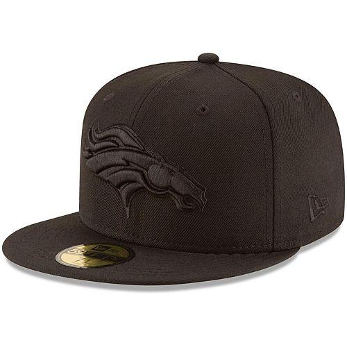 Men's New Era Denver Broncos Black on Black 59FIFTY Fitted Hat