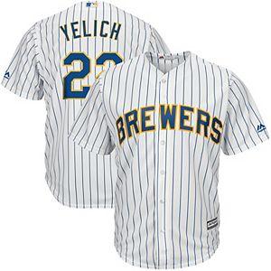 good 501c9 e09d9 Men's Majestic Milwaukee Brewers Christian Yelich Jersey