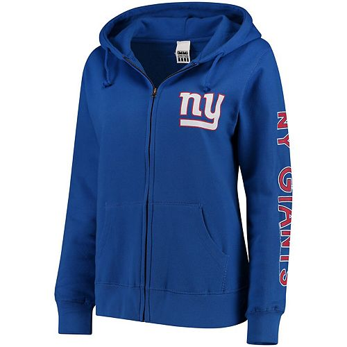 Women's Royal New York Giants Extra Point Two-Hit Full-Zip Hoodie