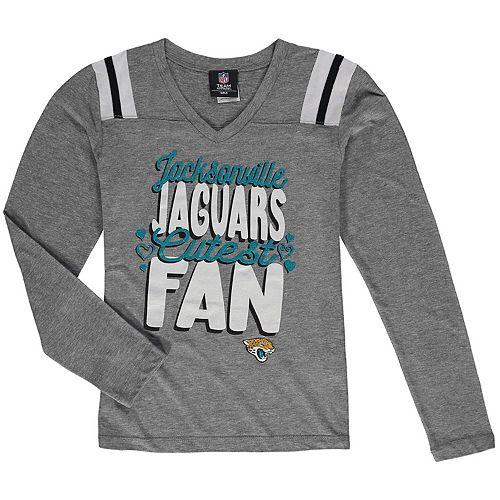 Girls Youth 5th & Ocean by New Era Heathered Gray Jacksonville Jaguars Cutest Fan Tri-Blend V-Neck Long Sleeve T-Shirt