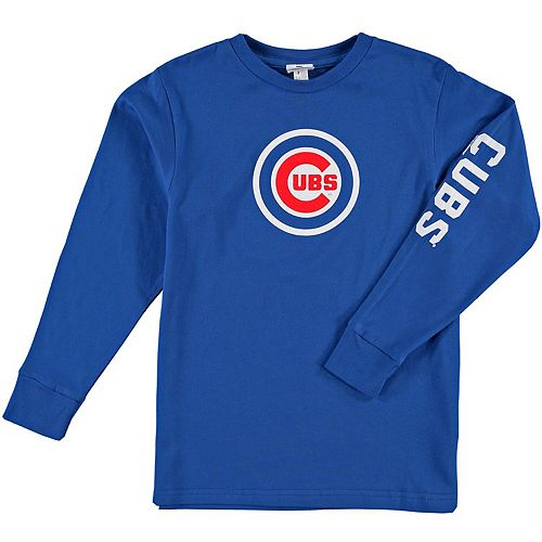 Youth Soft as a Grape Royal Chicago Cubs Sleeve Hit Long Sleeve T-Shirt