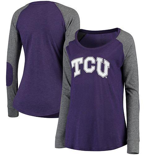 Women's Purple/Gray TCU Horned Frogs Preppy Elbow Patch Slub Long Sleeve T-Shirt