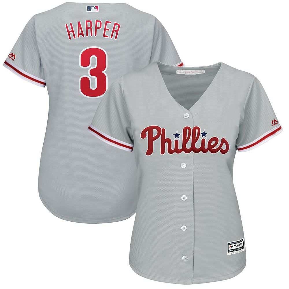 Women's Majestic Bryce Harper Gray Philadelphia Phillies Away Official Cool Base Player Jersey