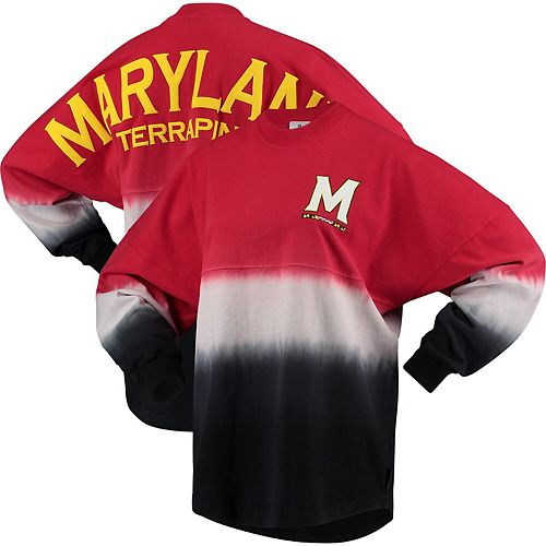 Women's Red/White Maryland Terrapins Ombre Spirit Jersey Long Sleeve T-Shirt