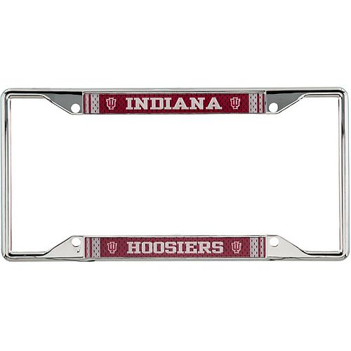 Indiana Hoosiers Jersey Small Over Small Metal Acrylic Cut License Plate Frame