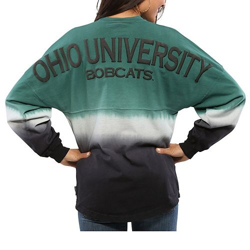 Women's Green Ohio Bobcats Ombre Long Sleeve Dip-Dyed Spirit Jersey