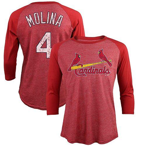 Men's Majestic Threads Yadier Molina Red St. Louis Cardinals Tri-Blend 3/4-Sleeve Raglan Name & Number T-Shirt